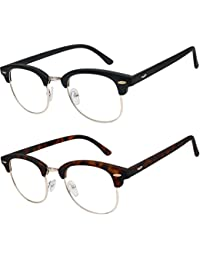 e3548d13311 READING GLASSES Set of 2 Fashion Clubmaster Style Readers Quality Spring  Hinged Glasses for Reading for Men…