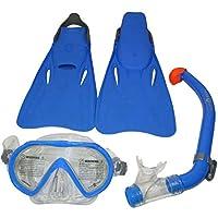 Aqua Lung Us-1001595 Santa Cruz Junior Mask, Snorkel And Fins Set, Blue