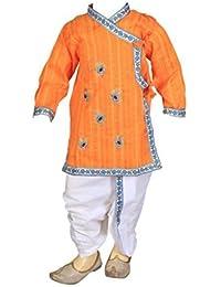 FOCIL Orange Peacock Feather Dhoti Kurta Pant Set For Kids