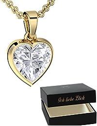 007403975fe7 Herzkette Gold ❤ Gelbgold vergoldet Kette Damen Halskette Zirkonia Stein  Damenkette Geschenk Etui mit Gravur Echt Anhänger Herz…