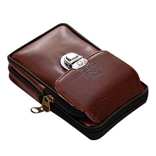 Haughtily Männer Einfache Retro Vielseitig Lässig Doppeldeck Handy Taille Packs Mini Geldbörse Handtaschen Mit Knöpfen -
