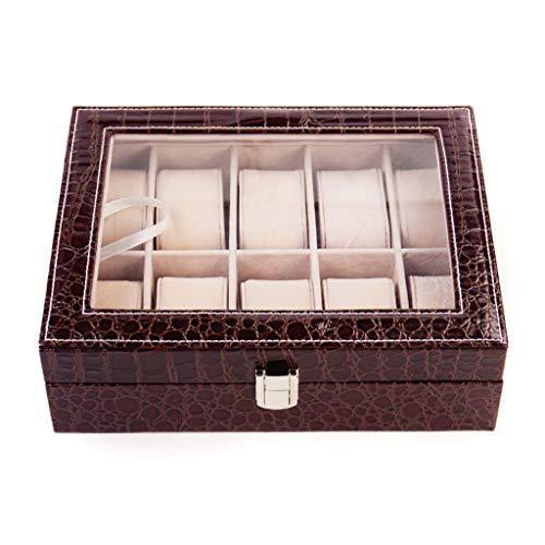 XFPINK Uhrenbox 10 Slot Leder Display Schmuck Durchsichtige Aufbewahrungsbox Tragbare Armband Kleine Reisetablett für Geschenk 8-slot-display-trays