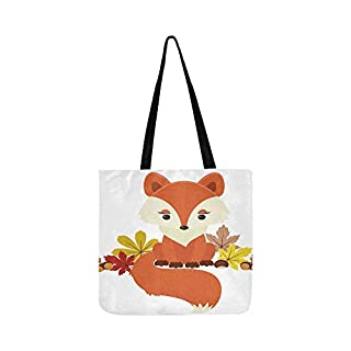 Fox Next to Autumnfall Leaves Acorns and Chestnut Canvas Tote Handbag Shoulder Bag Crossbody Bags Purses for Men and Women Shopping Tote