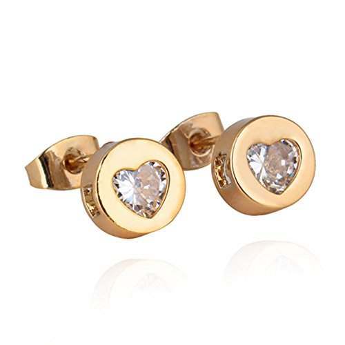 Zibuyu Sweet Heart Crystal Earring Lady Ear Stud Piercing Jewelry Gold Plated