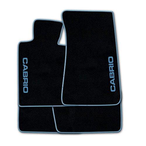 Autoteppich Stylers ATSQ100-CAB002831 Passgenaue Fußmatten in schwarz mit Druck Cabrio seitlich und Rand in Hellblau
