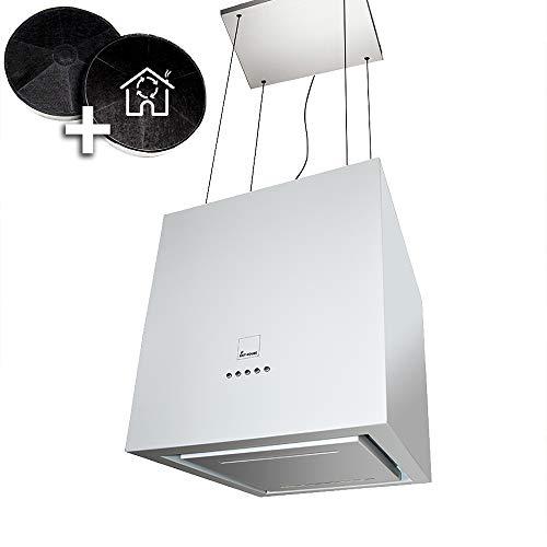 Design-Dunstabzugshaube, Inselhaube (40cm, weiß, leise, 4 Stufen, LED-Beleuchtung, Seilbefestigung, Randabsaugung) ART406-W B-Ware - KKT KOLBE