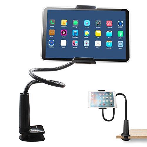BONUSIS Tablet Halterung Tablet Halter, Handy Halter Schwanenhals Handy-Ständer Schraubzwinge mit Halterung für Android Geräte 4-10,6 Zoll 360 Grad Drehbar 27.5 Zoll Flexibler Arm [Schwarz]