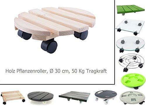 HRB Rolluntersetzer Pflanzenroller versch. Tragkräfte 30-200 Kg (Holz rund, Ø30 cm, 50 Kg)