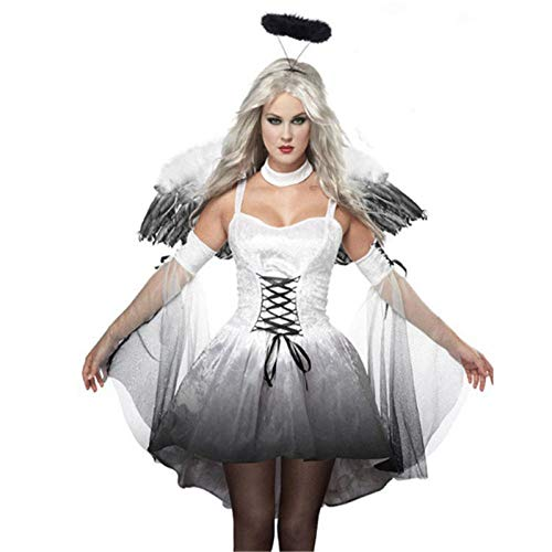 Der Kostüm Tag Toten Sexy - wnddm Halloween sexy schwarz Engel weiß Engel kostüm mit flügeln Erwachsenen Vampir Cosplay Dress Party Scary elf Tag der Toten Kleidung@Beige_M
