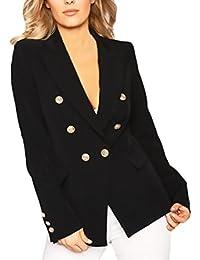 Blazer Mujer Fiesta Casual Blazers Doble Botonadura Clásico Office Wear  Negocios Abrigos Otoño Invierno Chaquetas V Cuello Manga… 8e079e73ac34