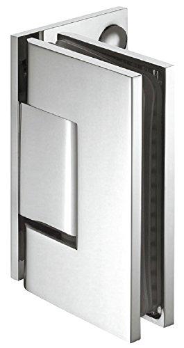 Gedotec Glastürbeschlag für Glastüren und Duschen Duschtürband Messing Bad-Türscharnier verchromt poliert | Glas-Türband für Wand zu Glas Verbindung | 1 Stück - Duschkabinen-Scharnier Chrom poliert