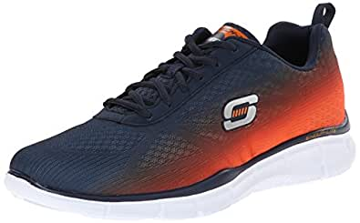 Skechers Men's Equalizer Navy and Orange Mesh Track and Field Shoes - 8 UK/India (42 EU) (9 US)