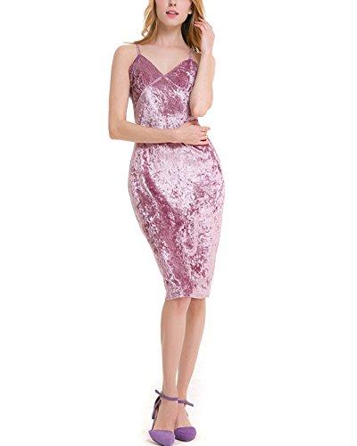 Femme Bodycon Slim Fit Sans Manche Col V Midi Robe En Velours pink