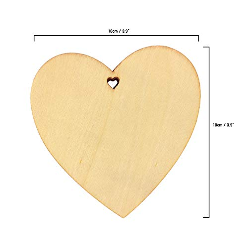Wooden Hearts (100 pcs) - 10 x 10 cm Natural Unfinished Rustic Love Embellishment Tags for Valentine's Day, Birthday/Wedding Decoration, Gifts, Scrapbooking, DIY Art and Crafts with 10m Twine