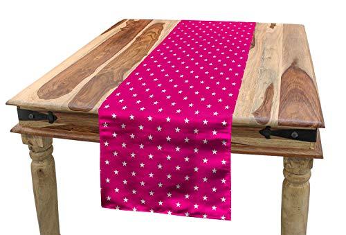 ABAKUHAUS Hot Pink Tischläufer, Weiße Sterne Girlish, Esszimmer Küche Rechteckiger Dekorativer Tischläufer, 40 x 225 cm, Pink Weiß