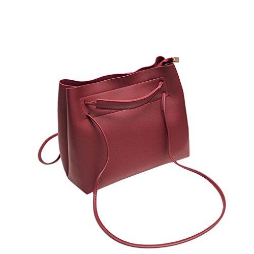 Damen Gepäck Handtaschen Schultertaschen Damen Handtaschen Totes JYJM Fashion Damen Leder Beuteltasche Volltonfarbe Messenger Bag (Größe: 26 cm (L) * 13 cm (W) * 22 cm (H) / 10,2 (L, Rot) (Klassische Handtasche Chloe)