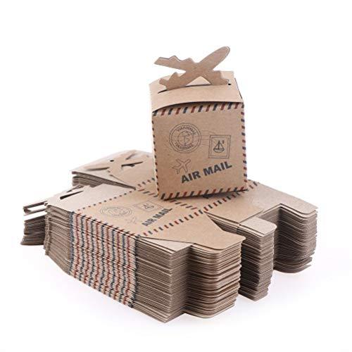 50 Teile/satz 6,3 * 6,3 * 6,3 cm Flugzeug Geschenk Pralinenschachtel Kraftpapier Hochzeit Reise Thema Dekoration Party Favors (Reisen, Party Thema)