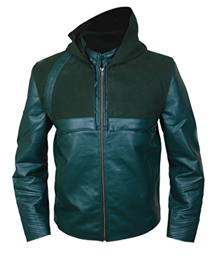 F&H Men's Arrow Genuine Leather Jacket with Removable Hood green