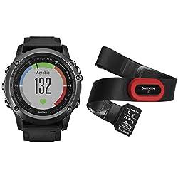 Garmin Fēnix 3 Sapphire Gray HR - Montre GPS Multisports Outdoor Avec Cardio Poignet - Avec Ceinture HRM-Run