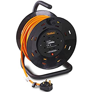 VonHaus Extension Lead/Reel Extra Long 25m - 4 Socket Extension Reel, Metal Frame with Thermal Cut Out