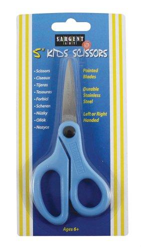 Sargent Art 22–090512,7Kinder Sicherheit Schere, Spitze Spitze Edelstahl Stahl Klinge, blau Griff