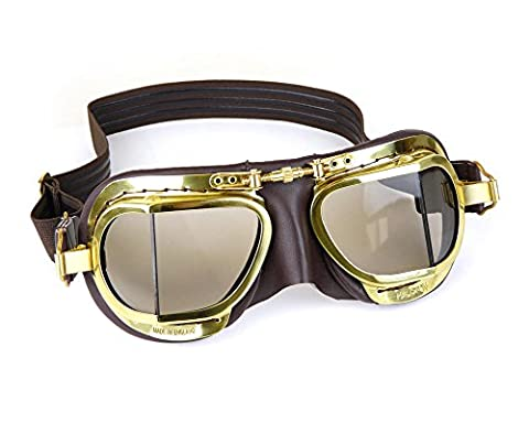 Halcyon Steampunk Edition Motorcycle Goggles / Highly Polished Brass Frames
