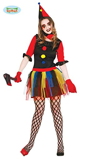 Clown Mörderin Kostüm für Damen Halloween Killer Mörder Halloweenkostüm Mörderkostüm Killerkostüm Damenkostüm bunt Gr. S-M, Größe:M (Irrenanstalt Halloween Kostüme)