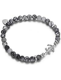 Italienisches Herren Armband aus Agat Natur Steinen in weiss grau. Marine Thema, mit Anker Anhänger. Luca Barra DBA910