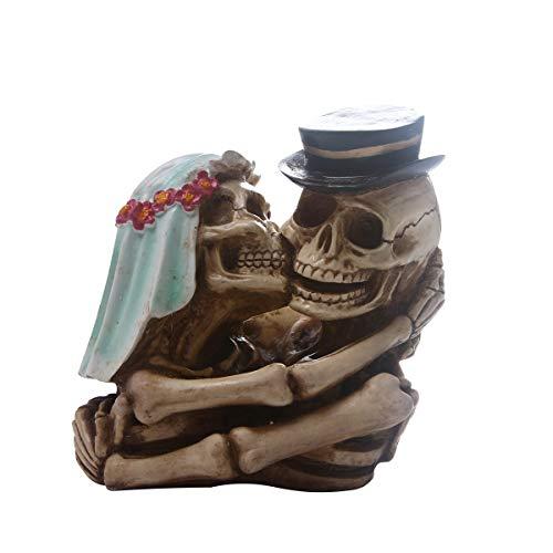 ZHZX Kreative Schädel Dekoration, EIN Paar Skelett Kuss und Umarmung Kunstharz Skulptur, Fotografie Requisiten, für zu Hause Halloween Ornament (Bedeutet Tod Halloween Den)