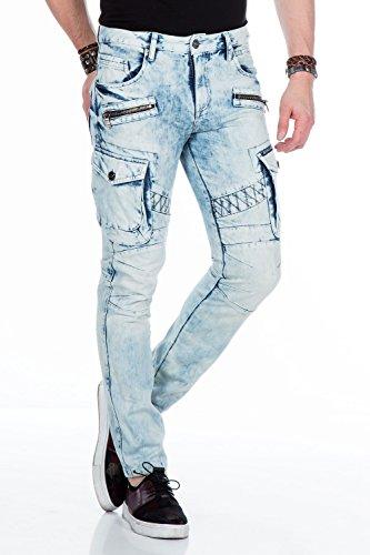 Cipo&Baxx Herren Herren Jeans im Cargo-Design CD435 , Ice Blau W31/L34