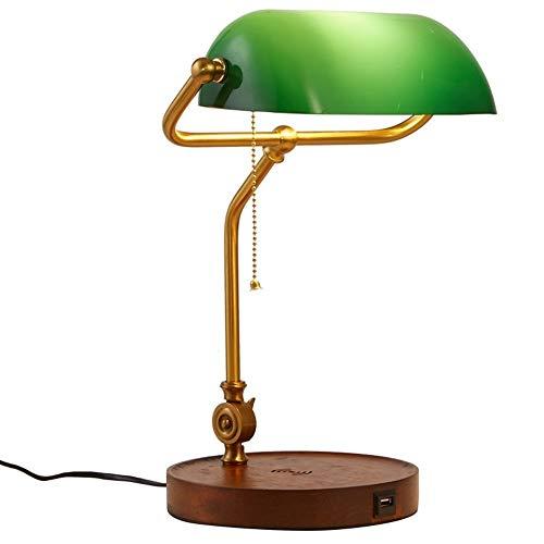 Tischlampe Dekorative Beleuchtung LED-Schreibtischlampe for kabelloses Aufladen, Bankerlampe for kabelloses Aufladen, Smaragdgrünes Glas Einstellbarer Lampenschirm (Winkel), Lampengehäuse in Kupferfar