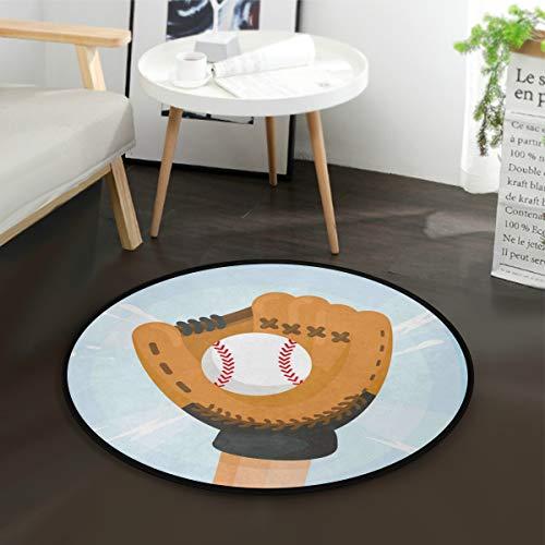 LUPINZ Baseball-Handschuhe rund rutschfest Bereich Teppich Baseball Handschuhe Teppich Fußmatte Fußmatte für Zimmer - Baseball-bürostuhl