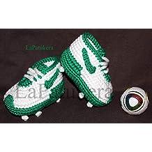 Patucos de fútbol para bebé de crochet, Unisex. Estilo Nike, 100% algodón