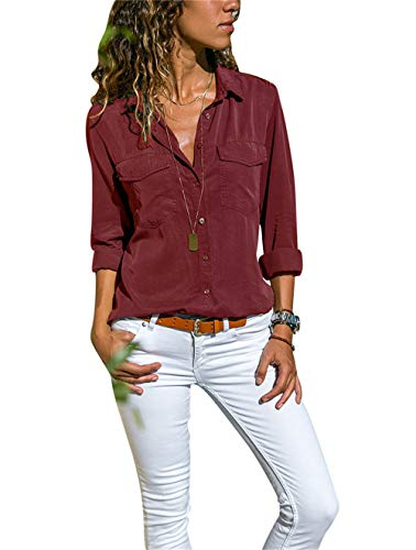 Chemise Femme Chemisier Mousseline de Soie Button Up T-Shirt Solide Tunique Femme Chic Manches Longues Lâche Tops Blouse Casual Pull Haut (Rouge, XL)