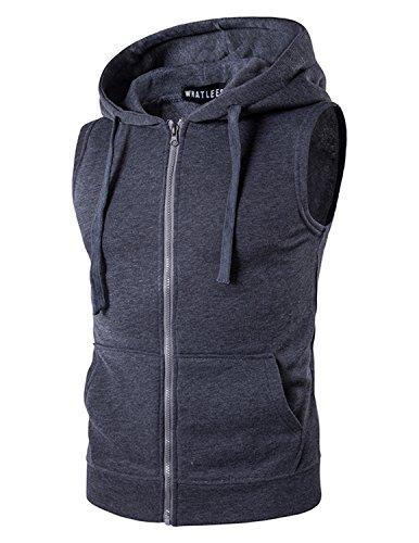 YCHENG Herren Sport Freizeit Kapuzensweatshirt mit Reißverschluss Ärmellos Shirts Weste, Grau, L Pullover Weste