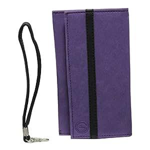 Jo Jo A5 Nillofer Leather Wallet Universal Pouch Cover Case For Obi WorldphoneSJ1.5 Purple Black