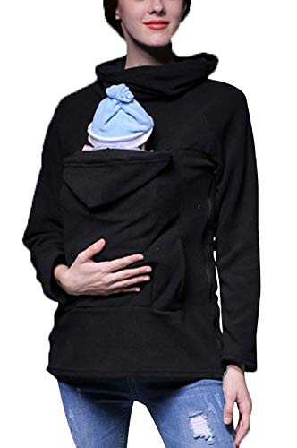(PENGYUE Winter Babytrage Damen Tragejacke für Mama und Baby Känguru Klassiker Daunenjacke Mit Kapuze Sweatshirt Mantel Mutterschaft Baumwolle Baby Carrier Jacke Schwarz)