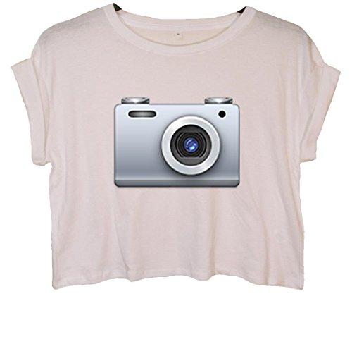 Camera Emoji Bauchfreies Crop Top Weiß