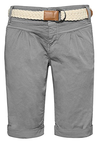 Fresh Made Damen Bermuda-Shorts in Pastellfarben mit Flecht-Gürtel | Elegante kurze Hose im Chino-Style Light-Grey