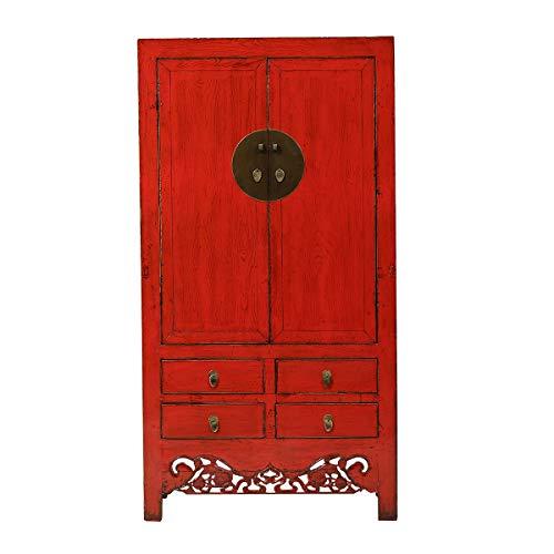 Yajutang Antiker Hochzeitsschrank aus China 2 Türen 4 Schubladen rot