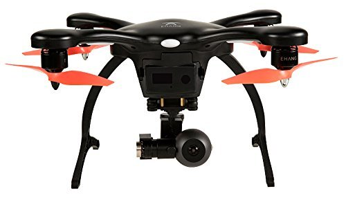Preisvergleich Produktbild EHANG GHOSTDRONE 2.0 VR (android)FPV RC Drone Profi Quaddrocopter Drohne mit Smartphone APP Steuerung und Kamera Live Video Übertragung zur VR Brille, Professionelle Kamera Drohne inkl. 4K HD Kugel Kamera, hochpräzisem 3-Achsen Gimbal und VR Brille, 25 Min Flugdauer, Bis zu 1000m Sendebereich, schwarz/orange