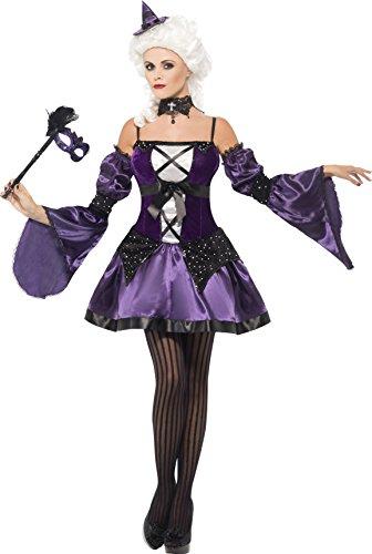 Smiffys, Damen Hexen Maskerade Kostüm, Kleid, Ärmel und Hut, Größe: L, 25436 (Masquerade Witch Erwachsene Kostüme Damen)
