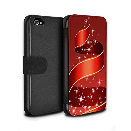 Stuff4 Coque/Etui/Housse Cuir PU Case/Cover pour Apple iPhone 4/4S / Boules/Or Design / Décoration Noël Collection Ruban/Rouge
