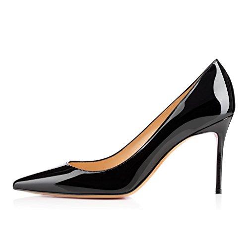 ELASHE Spitze Damen Pumps | 8CM Bequeme Lack Stilettos | Elegante High Heels Schwarz EU40