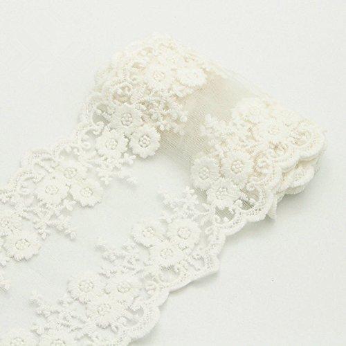 4,6 m Dentelle brodée Daisy ruban Bordure en dentelle brodée patchs à décoration pour DIY Bijoux robes de mariage Accessoires Cadeau 5Yards x 12cm blanc