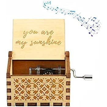 Wingostore Emboss Alloy Metal Music Box Wind Up and Golden Movement Music Box for Christmas//Birthday//Valentines Day Emboss Alloy Pattern 1, You are My Sunshine