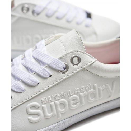 Superdry Super Sleek Logo Lo, chaussures à lacets femme Bianco (Optic)