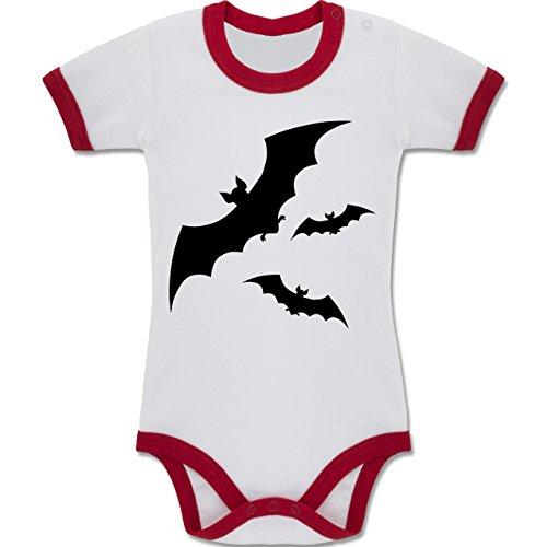 & Muttertag - Fledermaus - 6-12 Monate - Weiß/Rot - BZ19 - Zweifarbiger Baby Strampler für Jungen und Mädchen (Halloween Kostüme Für 10 Monate Altes Mädchen)