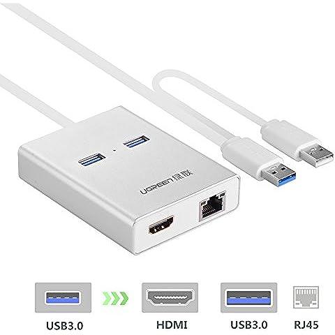 Ugreen USB 3.0 a HDMI DVI Adattatore Grafica Video Esterno Display con 3 Porte USB 3.0 Hub 10/100/1000 Gigabit Ethernet Lan per Monitor Multipli fino a 2048x1152 per Windows 10/8.1/8/7/Vista/XP, Mac OS 10.6 to 10.11 El Capitan, Custodia Alluminio