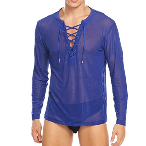 Freebily Herren Hemd Transparent Muskelshirts Langarmshirt Netzhemd Mesh Top Shirt mit Knöpfen Erotik Unterwäsche Wetlook Club Shirt Reizwäsche Blau X-Large -